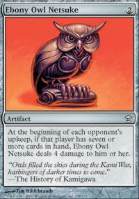 Ebony Owl Netsuke Magic Card