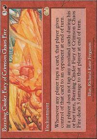 Burning Cinder Fury of Crimson Chaos Fire Magic Card